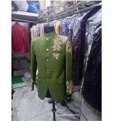 Party Green Jodhpuri Coat, Size: Large