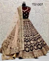 Maroon Velvet ANK Enterprise Embroidered Bridal Wear, Size: Free Size