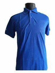 Half Sleeve Blue Men's Cotton Corporate Collar T Shirt
