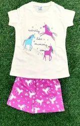 White and Pink Girl Kids Cotton Printed Half Sleeves Nicker Set