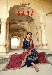 Glossy Sana Viscose Dola Jacquard Embroidered Straight Salwar Suit Catalog