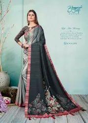 Silk Linen Digital Print Saree