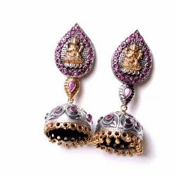 Laxmi Goddess Oxidized Designer Jhumka Earrings Women Jewelry