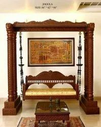 Wooden Carving Swing Double Pillar