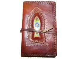 Binding Leather Journal with Blue Pottery Stone