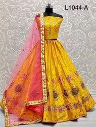 Ank Enterprise Eye Catchy Real Mirror Work And Designer Patterned Wedding Lehenga Choli