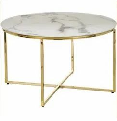 Polished Iron Round Coffee Table, For Restaurant
