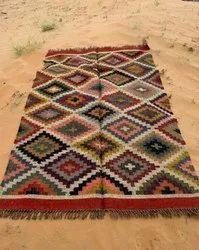 Multicolor Multicolour Assorted Reversible Handmade Area Rug,Wool Jute Kilim Rug, Rectangle, Size/Dimension: 5 X 7 Feet