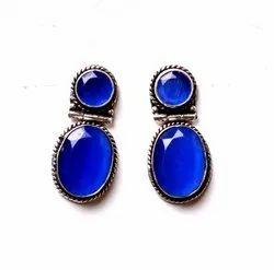 Blue Chalcedony Gemstone Designer Earrings