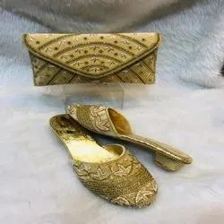 European Gold Shoes And Bag For Women And Girl With New Pattern