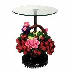 Multicolor Glossy Glass Top Decorative Corner Table/Pillar
