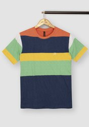 Half Sleeve Blue Men Round Neck T Shirt, Size: Medium