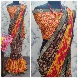 Multicolor Wedding Wear Synthetic Saree, 6.3 m (with blouse piece)