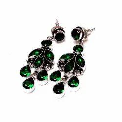 Green Quartz Gemstone Designer Earrings