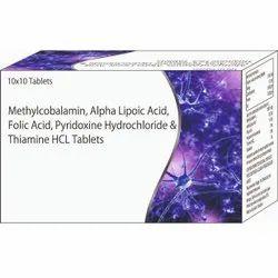 Methylcobalamin, Alpha Lipotic Acid, Folic Acid, Pyridoxine Hydrochloride & Thiamine HCL Tablets