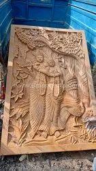 Brown Hindu Sandstone Radhakrishna Wall Sculpture, For Worship