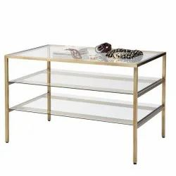 3 Tier Brass Display Table For Museum, Showrooms, Clothes Display Stand