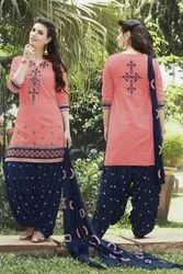 Casual Wear Cotton Embroidery Patiala Salwar Suit(G16-Peach)