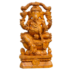 Engineered Wood Varnished with matt finishing Wooden Handicraft Ganesha Statue, Packaging Type: Playwood, Size: 3 Feet Height