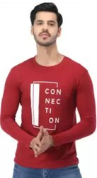 Round Red Mens Full Sleeves Casual T Shirt