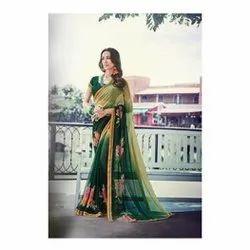 Printed Party Wear Ethnic Ladies Saree, 0.8 M, 5.5 m (separate blouse piece)