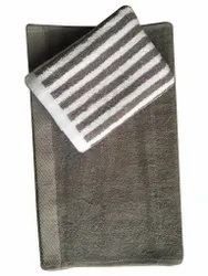 Yarn Dyed White and Grey Cotton Hand Towel Set, Size: 70x140 Cm