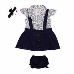 Half Sleeve Top With Dungaree Set For Kids Girls