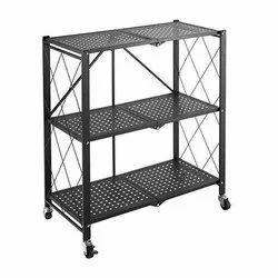 Black Free Standing 3 Layer Foldable Kitchen Rack, Size: 10*5*8 Cm