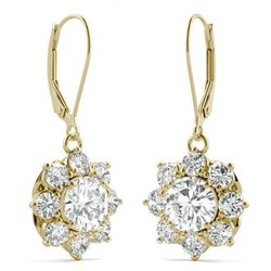 3.71 CTW Round White Moissanite Signature Cluster Halo Earrings In 14K Yellow Gold