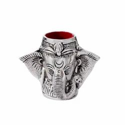 Metal Silver Plated Ganesha Pen Stand For Home, Office Use & Corporate Gift.