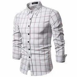 Checks White Full Sleeve Mens T Shirt, Handwash