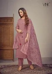 Vink Presents Chikankari Cotton With Embroidery Work Heavy Look Readymade Bottom With Long Kurtis