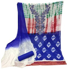 Keyanshi Embroidered Bandhani Georgette Dress Material