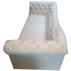 White Modern Wooden Three Seater Sofa, Living Room, 5 inch