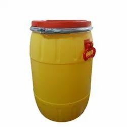 Yellow (Drum) And Red (Cap) Round HDPE Storage Drum, Capacity: 50 Litre