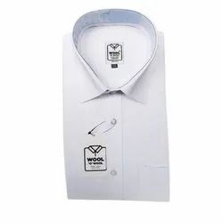 Polyester Cotton Mens Formal Office Shirt, Pain, White