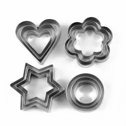 Stainless Steel Cookie Cutter with 4Shape, 12 Pieces
