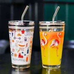 Printed Glass With Airtight Lid And Straw Children's Breakfast Milk Coffee Mug