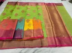 Printed Ladies Party Wear Chanderi Silk Saree, 6.3m (With Blouse Piece)