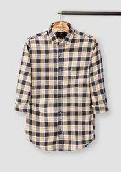 Roman Island Collar Neck Cotton Twill Check Shirt, Machine wash