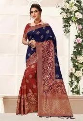 Nivah Fashion Kanjivaram Art Silk Half Half Saree, 6.3 M (with Blouse Piece)