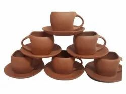 Brown Terracotta Cups And Saucers Set, For Restaurant