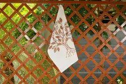 Printed White Leaf Print Cotton Kitchen Towel