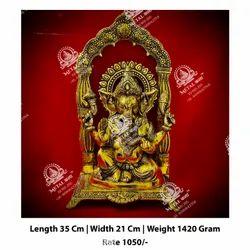 1420 gm Metal Kala Golden Ganesha God Statue