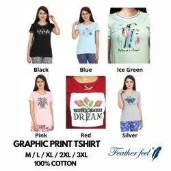 Feather Feel Half Sleeve Ladies Printed T Shirt