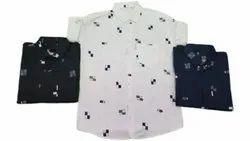 Printed White Men Party Wear Cotton Shirt, Size: S-xxl