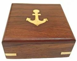 Brown Square Achor Wooden Box (7.5x7.5x4 cm), For Packaging