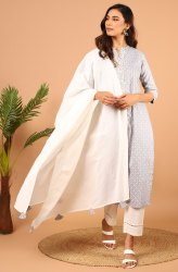 Janasya Women's Grey Rayon Kurta With Pant And Dupatta (Set 254)