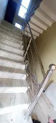 Silver Stairs Stainless Steel Staircase Railing, For Residential