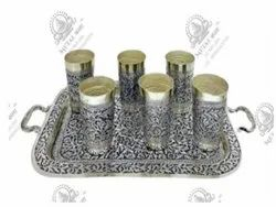 Tray and Glass Silver Plated Artifacts